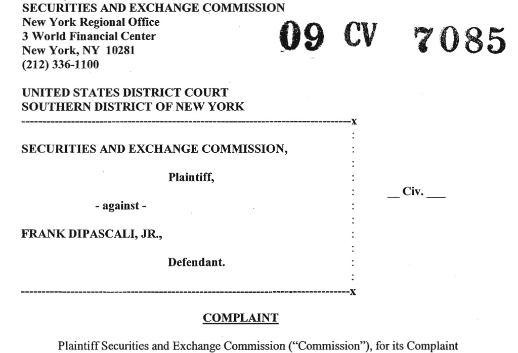 Securities and Exchange Commission, Plaintiff versus Frank DiPascali,
