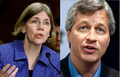 Elizabeth Warren and Jamie Dimon